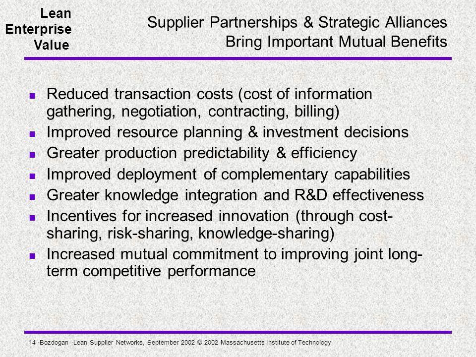 Lean Enterprise Value 14 -Bozdogan -Lean Supplier Networks, September 2002 © 2002 Massachusetts Institute of Technology Supplier Partnerships & Strate