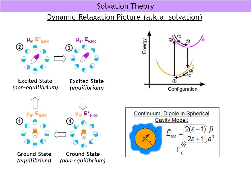 Solvation Theory Dynamic Relaxation Picture (a.k.a. solvation) Excited State (non-equilibrium) Excited State (equilibrium) Ground State (equilibrium)