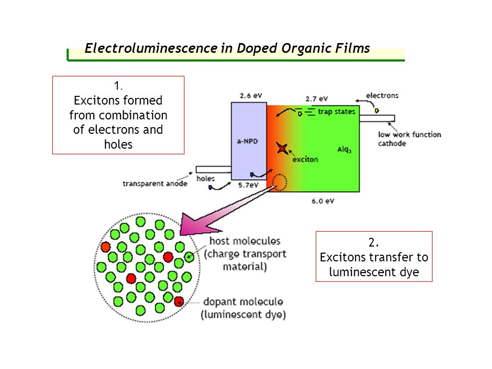 Electroluminescence in Doped Organic Films 1. Excitons formed from combination of electrons and holes 2. Excitons transfer to luminescent dye
