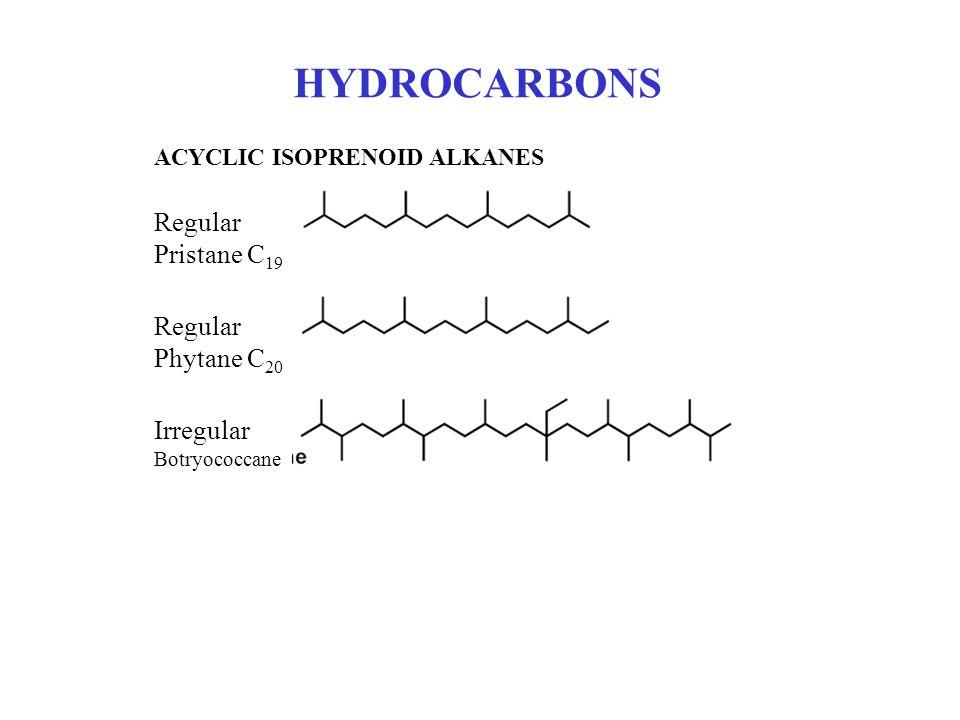 HYDROCARBONS ACYCLIC ISOPRENOID ALKANES Regular Pristane C 19 Regular Phytane C 20 Irregular Botryococcane