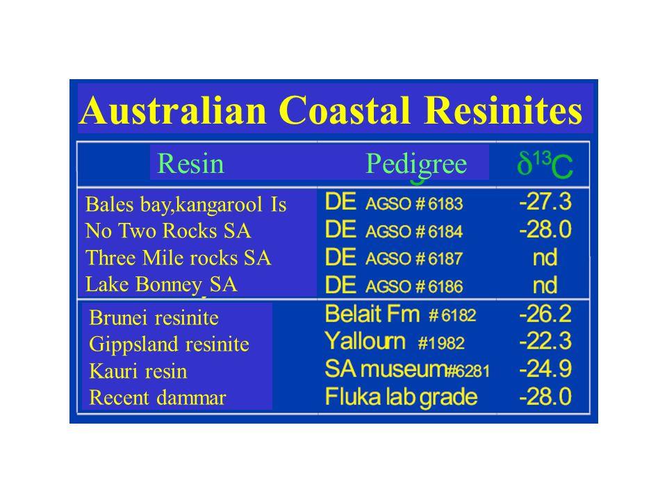 Australian Coastal Resinites Resin Pedigree Bales bay,kangarool Is No Two Rocks SA Three Mile rocks SA Lake Bonney SA Brunei resinite Gippsland resini