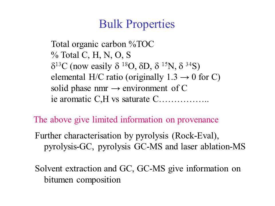 Bulk Properties Total organic carbon %TOC % Total C, H, N, O, S 13 C (now easily 18 O, D, 15 N, 34 S) elemental H/C ratio (originally 1.3 0 for C) sol