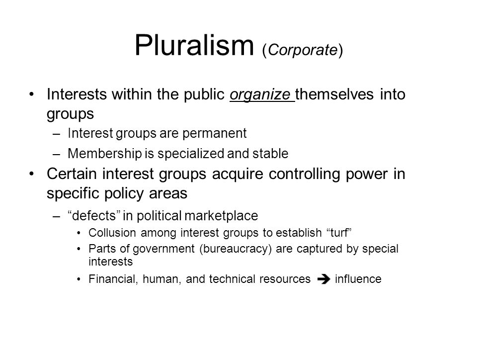 Pluralism (Corporate) Interests within the public organize themselves into groups –Interest groups are permanent –Membership is specialized and stable
