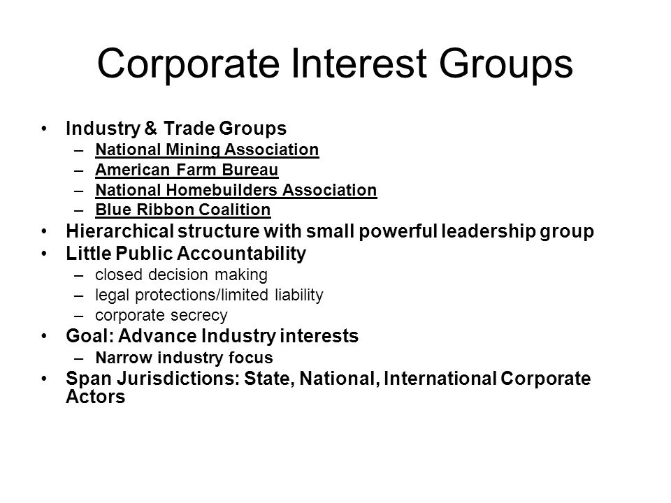 Corporate Interest Groups Industry & Trade Groups –National Mining Association –American Farm Bureau –National Homebuilders Association –Blue Ribbon Coalition Hierarchical structure with small powerful leadership group Little Public Accountability –closed decision making –legal protections/limited liability –corporate secrecy Goal: Advance Industry interests –Narrow industry focus Span Jurisdictions: State, National, International Corporate Actors