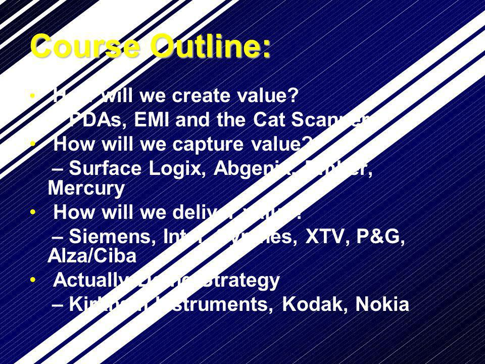 Course Outline: How will we create value? – PDAs, EMI and the Cat Scanner How will we capture value? – Surface Logix, Abgenix, Ember, Mercury How will