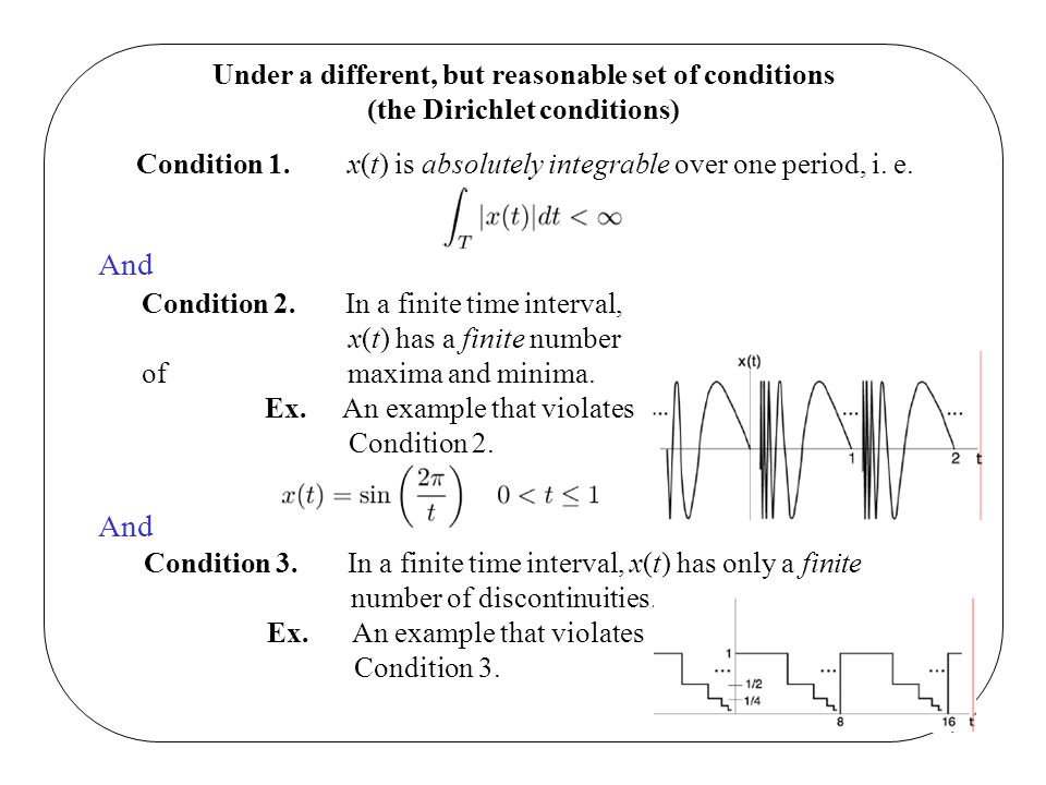 Under a different, but reasonable set of conditions (the Dirichlet conditions) Condition 1. x(t) is absolutely integrable over one period, i. e. And C