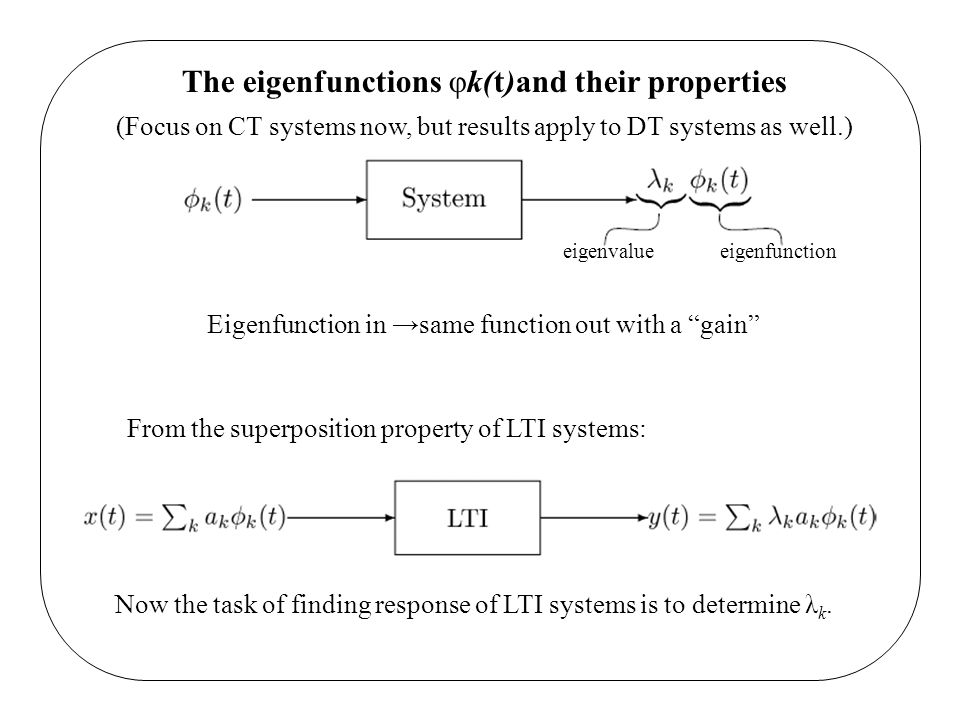 The eigenfunctions φk(t)and their properties (Focus on CT systems now, but results apply to DT systems as well.) eigenvalue eigenfunction Eigenfunctio