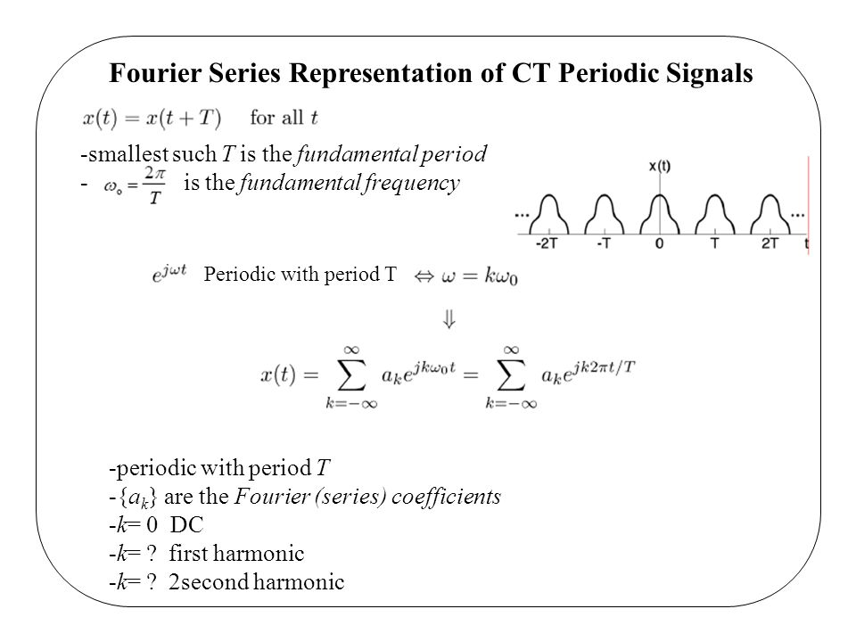 Fourier Series Representation of CT Periodic Signals -smallest such T is the fundamental period - is the fundamental frequency Periodic with period T