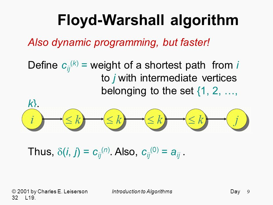 9 Floyd-Warshall algorithm © 2001 by Charles E. Leiserson Introduction to Algorithms Day 32 L19.