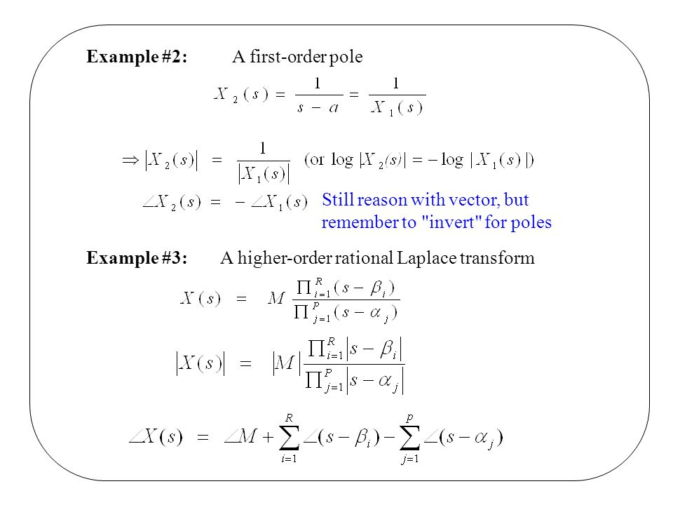 Example #2:A first-order pole Still reason with vector, but remember to invert for poles Example #3:A higher-order rational Laplace transform