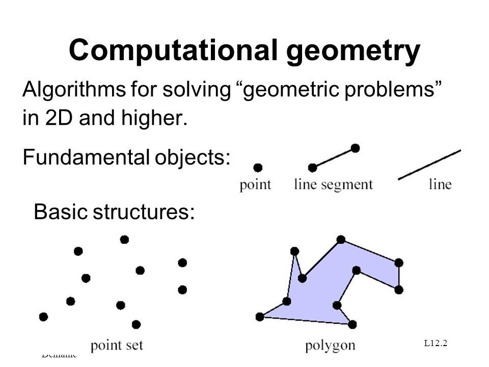 © 2001 by Erik D. Demaine Introduction to AlgorithmsDay 21 L12.23 Line-segment intersection