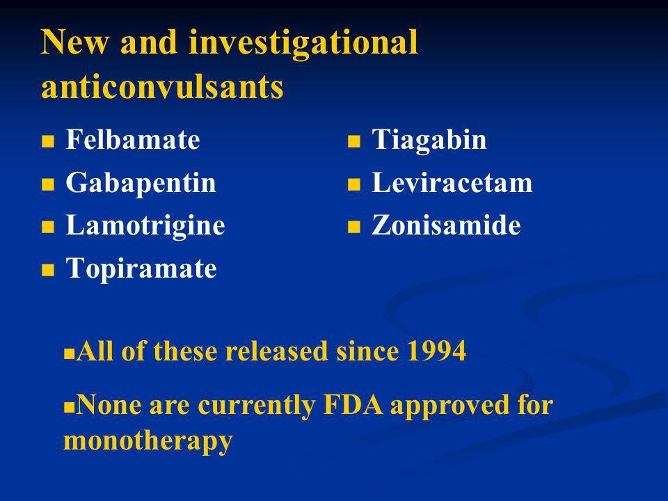 New and investigational anticonvulsants Felbamate Gabapentin Lamotrigine Topiramate Tiagabin Leviracetam Zonisamide All of these released since 1994 N
