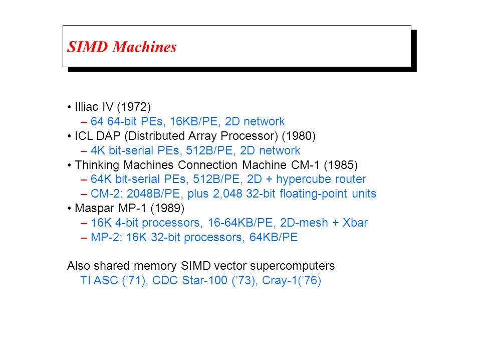 SIMD Machines Illiac IV (1972) – 64 64-bit PEs, 16KB/PE, 2D network ICL DAP (Distributed Array Processor) (1980) – 4K bit-serial PEs, 512B/PE, 2D network Thinking Machines Connection Machine CM-1 (1985) – 64K bit-serial PEs, 512B/PE, 2D + hypercube router – CM-2: 2048B/PE, plus 2,048 32-bit floating-point units Maspar MP-1 (1989) – 16K 4-bit processors, 16-64KB/PE, 2D-mesh + Xbar – MP-2: 16K 32-bit processors, 64KB/PE Also shared memory SIMD vector supercomputers TI ASC (71), CDC Star-100 (73), Cray-1(76)