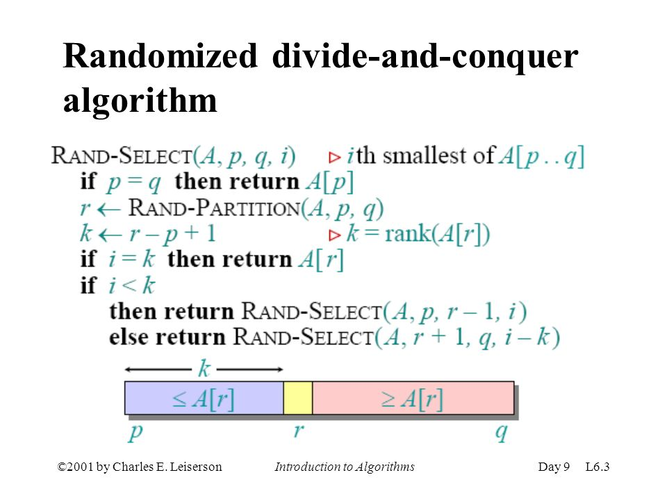 ©2001 by Charles E. Leiserson Introduction to AlgorithmsDay 9 L6.3 Randomized divide-and-conquer algorithm