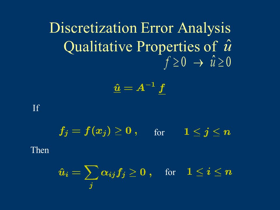 Discretization Error Analysis Qualitative Properties of If for Then for