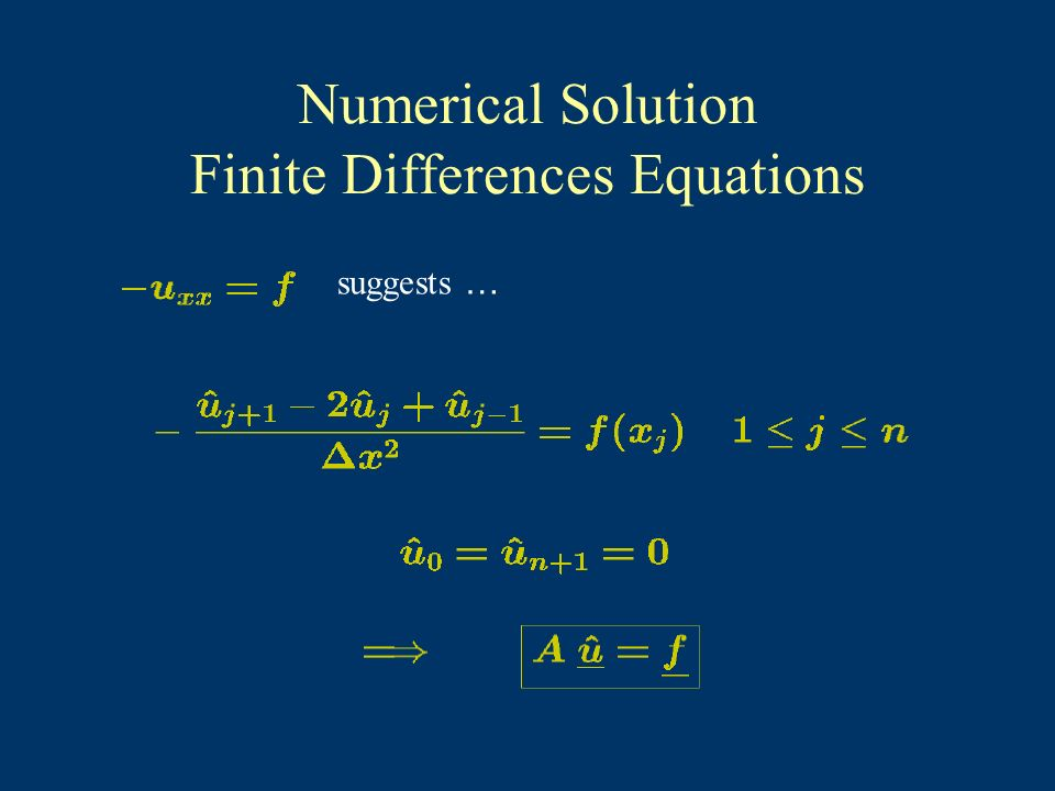 Numerical Solution Finite Differences Equations suggests …