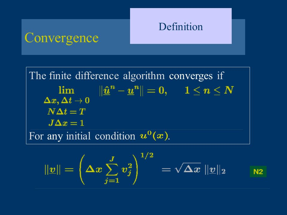 Convergence Definition The finite difference algorithm converges if For any initial condition.