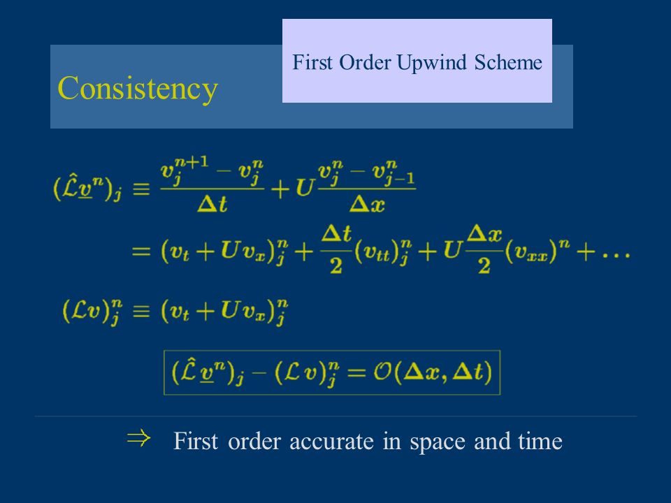Consistency First Order Upwind Scheme First order accurate in space and time
