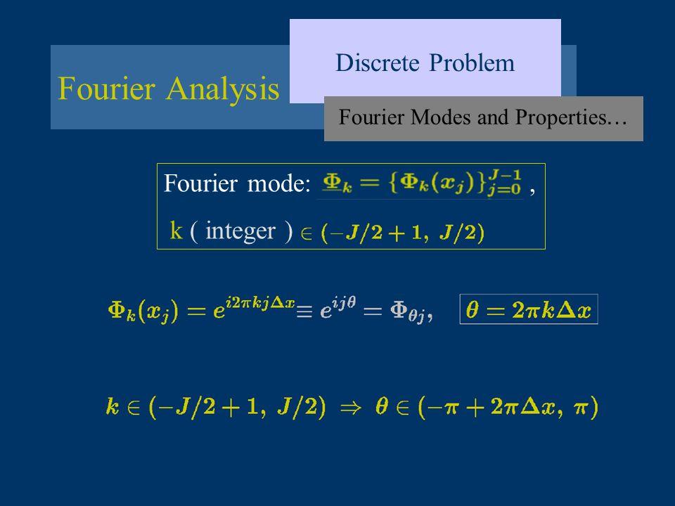 Fourier Analysis Discrete Problem Fourier Modes and Properties … Fourier mode:, k ( integer )