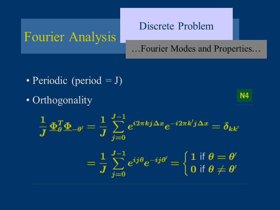 Fourier Analysis Discrete Problem … Fourier Modes and Properties … Periodic (period = J) Orthogonality