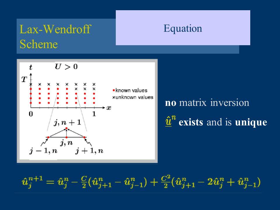 Lax-Wendroff Scheme Equation no matrix inversion exists and is unique