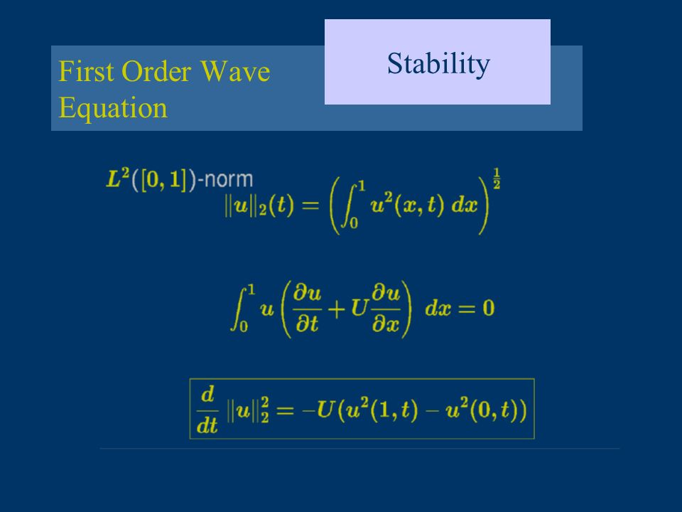 Dissipation and Dispersion Exact Discrete Relations For the exact solution, and For the discrete solution, and