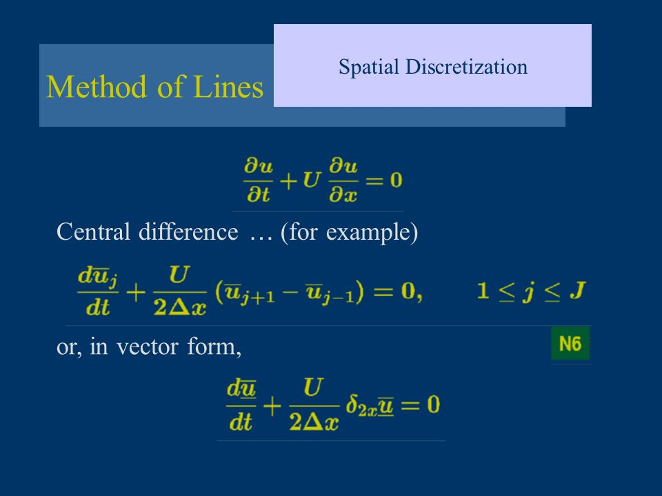 Method of Lines Spatial Discretization Central difference … (for example) or, in vector form,