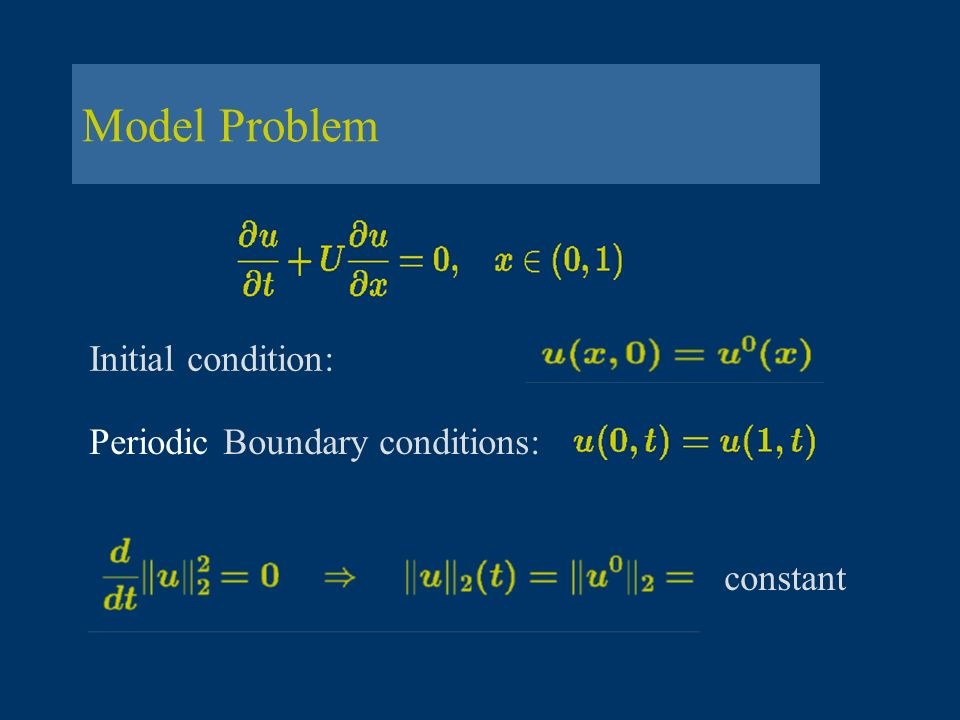 Method of Lines Methods for ODE s Model equation: complex- valued Discretization EF EB CN