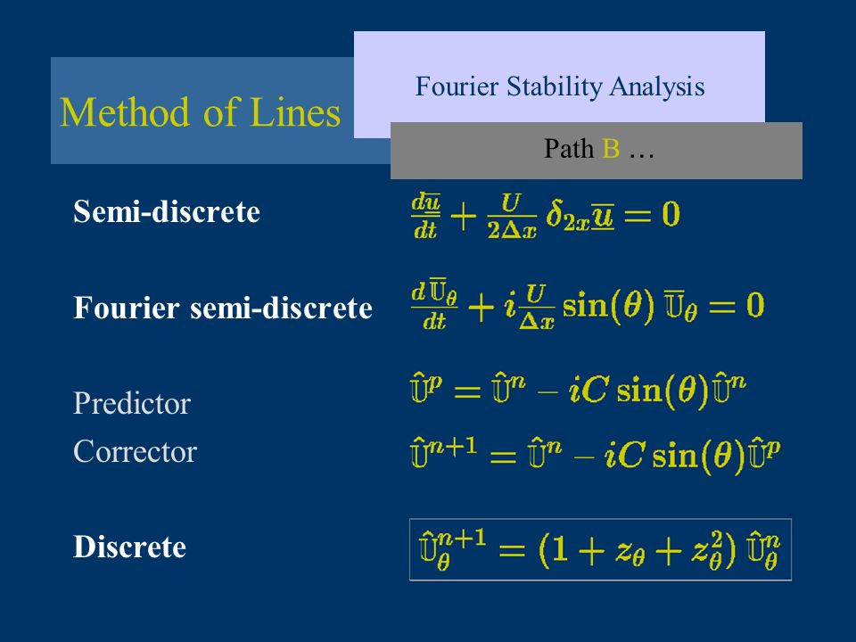 Method of Lines Fourier Stability Analysis Path B … Semi-discrete Fourier semi-discrete Predictor Corrector Discrete