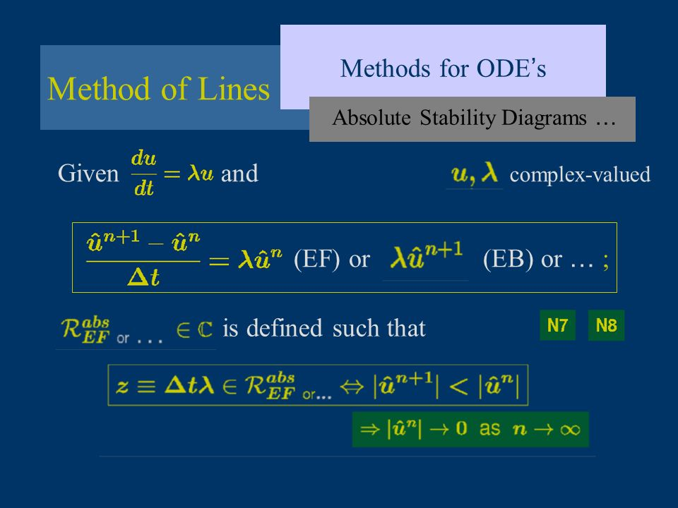 Method of Lines Methods for ODE s Given and complex-valued Absolute Stability Diagrams … (EF) or (EB) or … ; is defined such that
