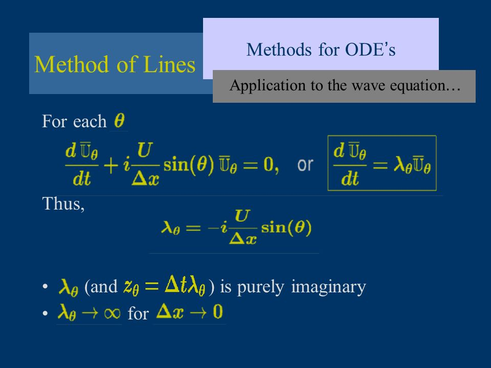 Method of Lines Methods for ODE s Application to the wave equation … For each Thus, (and ) is purely imaginary for