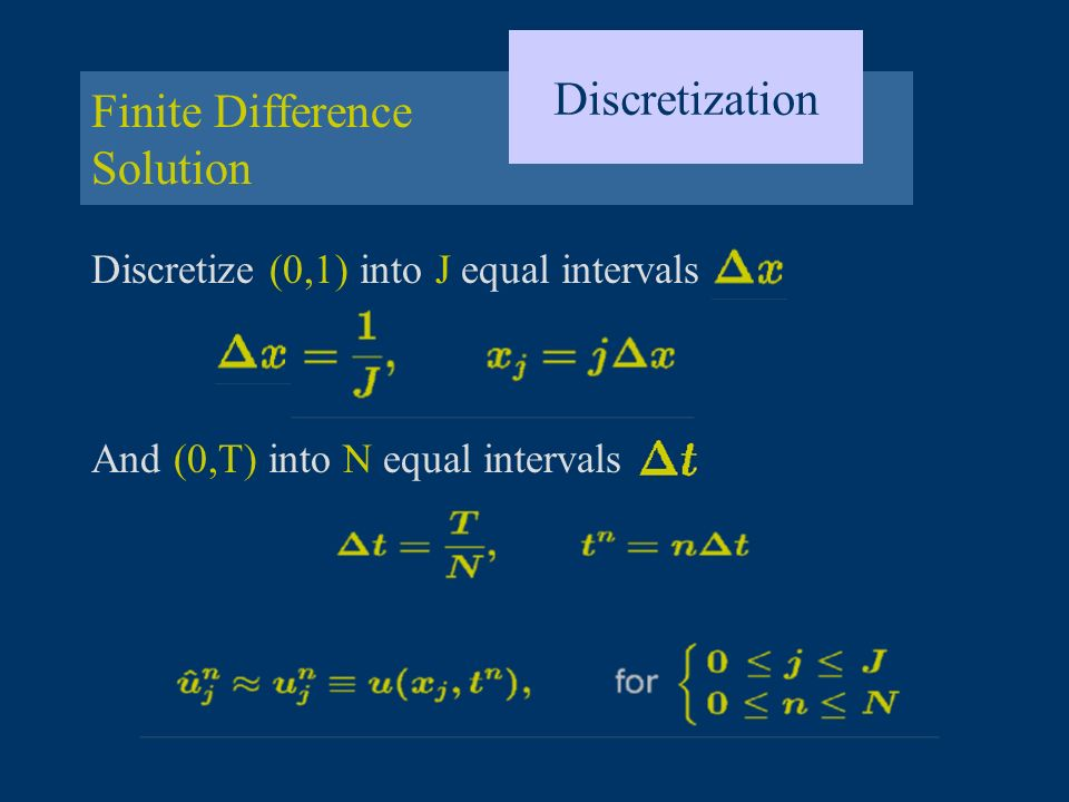 Finite Difference Solution Discretization Discretize (0,1) into J equal intervals And (0,T) into N equal intervals