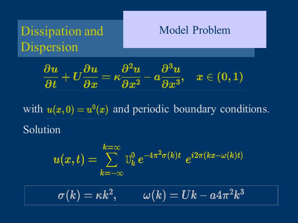 Dissipation and Dispersion Model Problem with and periodic boundary conditions. Solution