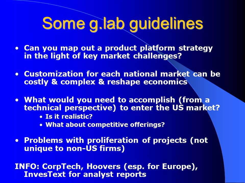 Some g.lab guidelines Can you map out a product platform strategy in the light of key market challenges.