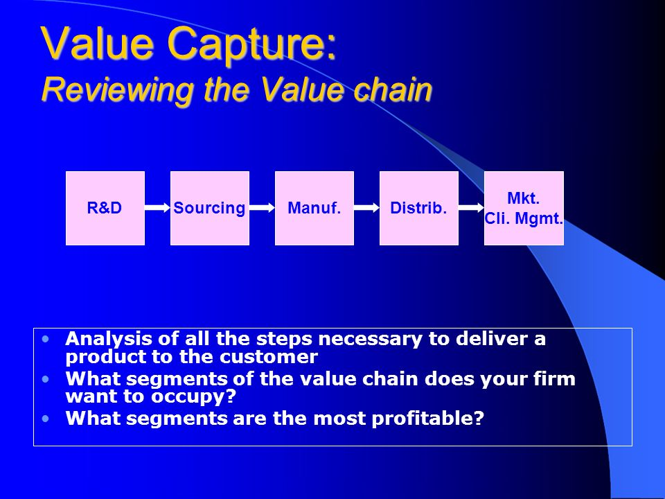 Value Capture: Reviewing the Value chain Analysis of all the steps necessary to deliver a product to the customer What segments of the value chain does your firm want to occupy.