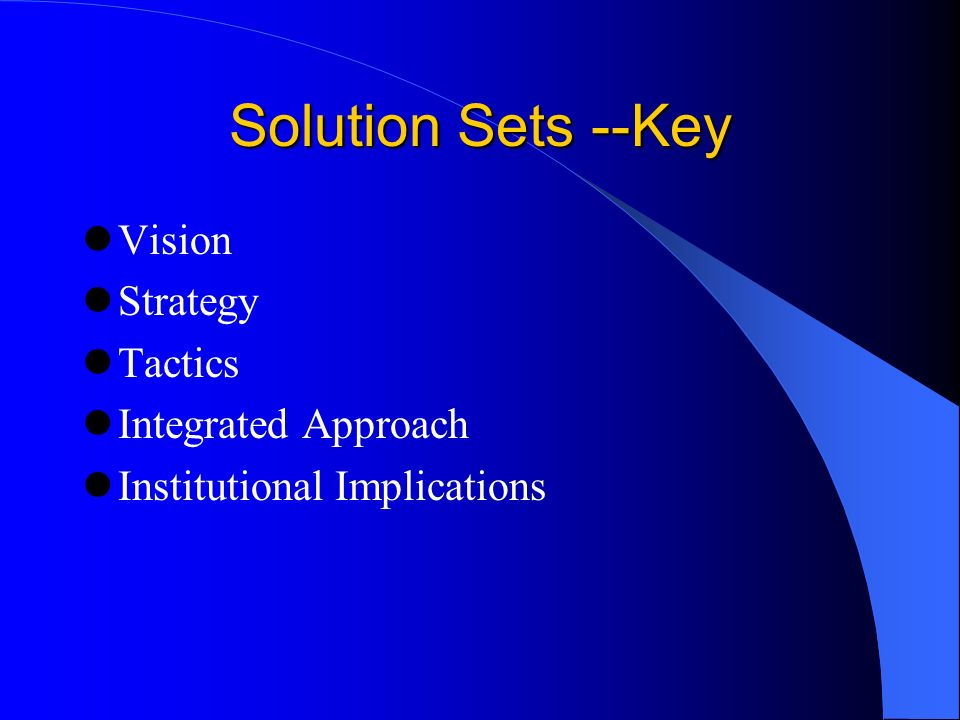 Solution Sets --Key Vision Strategy Tactics Integrated Approach Institutional Implications