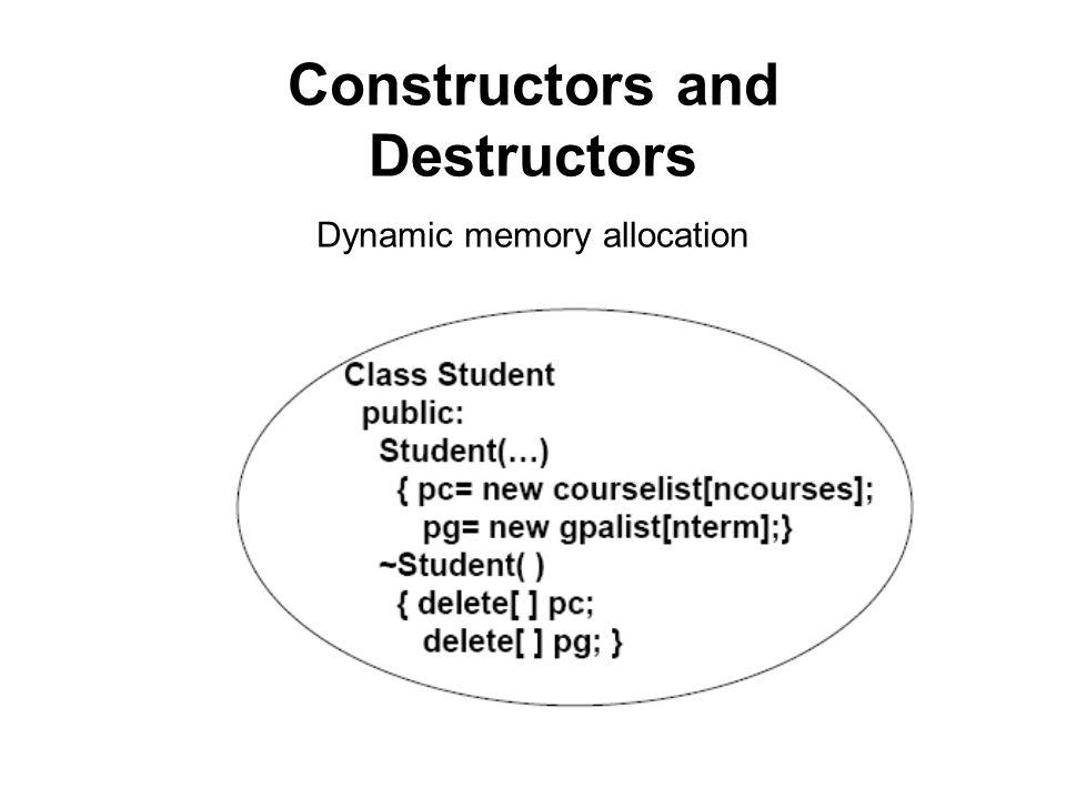 Constructors and Destructors Dynamic memory allocation