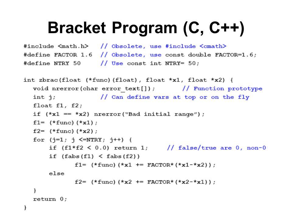 Bracket Program (C, C++)