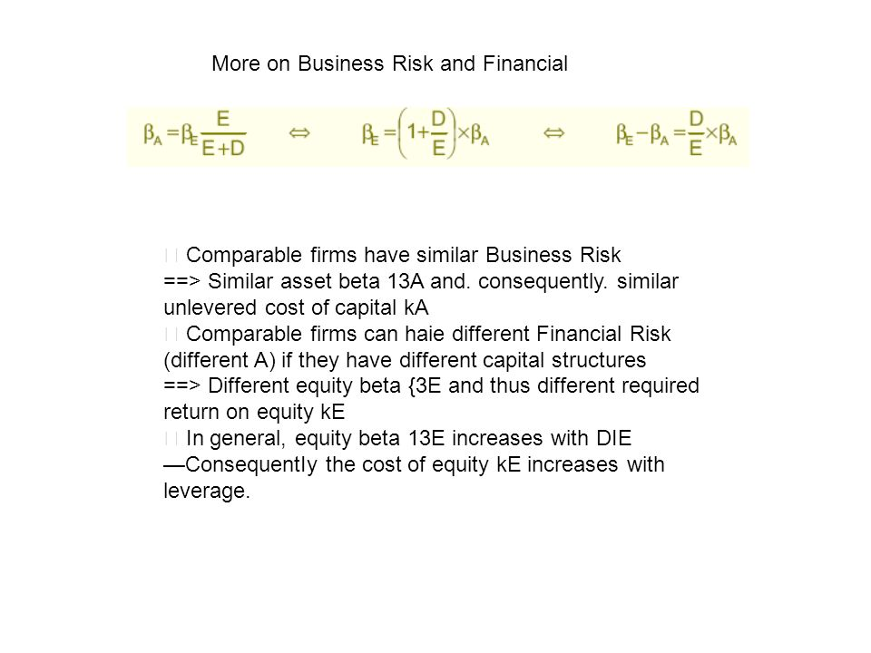 More on Business Risk and Financial Comparable firms have similar Business Risk ==> Similar asset beta 13A and. consequently. similar unlevered cost o