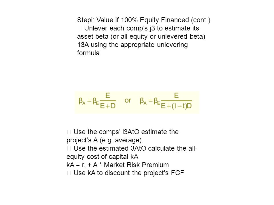 Stepi: Value if 100% Equity Financed (cont.) Unlever each comps j3 to estimate its asset beta (or all equity or unlevered beta) 13A using the appropri