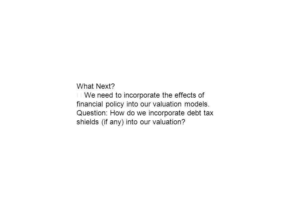 What Next? We need to incorporate the effects of financial policy into our valuation models. Question: How do we incorporate debt tax shields (if any)
