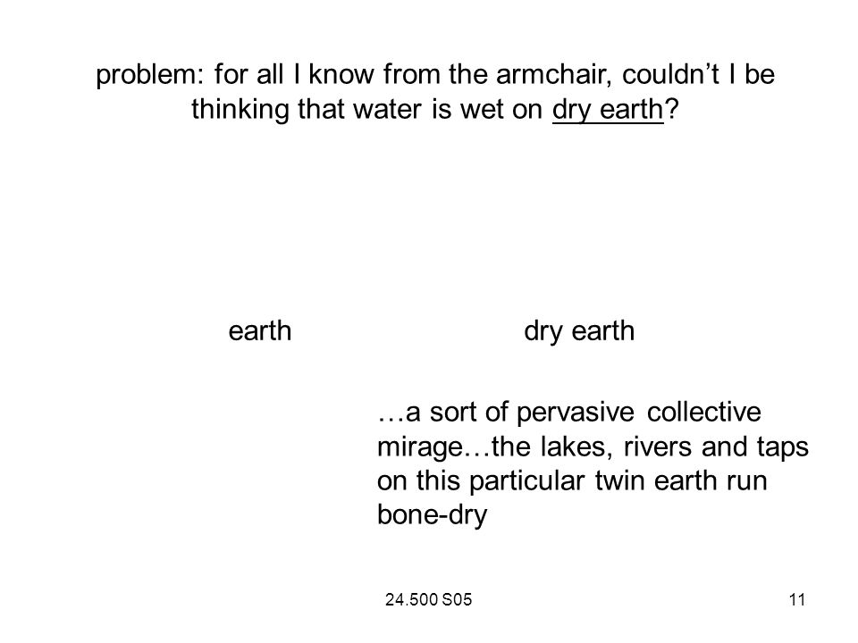 24.500 S0511 problem: for all I know from the armchair, couldnt I be thinking that water is wet on dry earth.