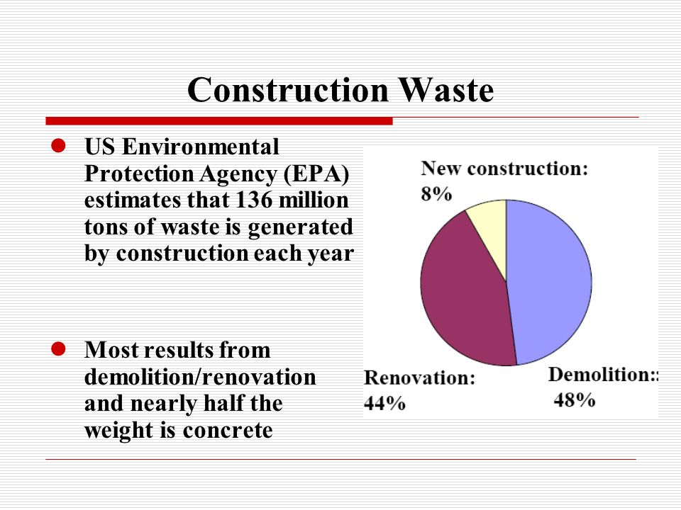 Construction Waste US Environmental Protection Agency (EPA) estimates that 136 million tons of waste is generated by construction each year Most resul