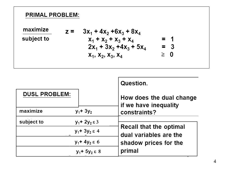 4 PRIMAL PROBLEM: maximize subject to z = 3x 1 + 4x 2 +6x 3 + 8x 4 x 1 + x 2 + x 3 + x 4 = 1 2x 1 + 3x 2 +4x 3 + 5x 4 = 3 x 1, x 2, x 3, x 4 0 DUSL PROBLEM: maximize y 1 + 3y 2 subject to y 1 + 2y 2 y 1 + 3y 2 y 1 + 4y 2 y 1 + 5y 2 Question.