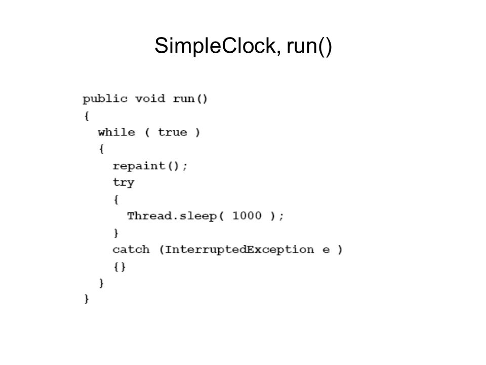 SimpleClock, run()