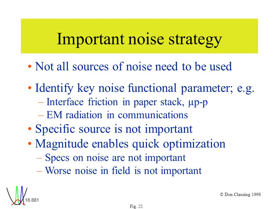 16.881 Fig. 21 © Don Clausing 1998 Important noise strategy Not all sources of noise need to be used Identify key noise functional parameter; e.g. – I