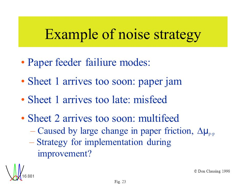 16.881 Fig. 23 © Don Clausing 1998 Example of noise strategy Paper feeder failiure modes: Sheet 1 arrives too soon: paper jam Sheet 1 arrives too late