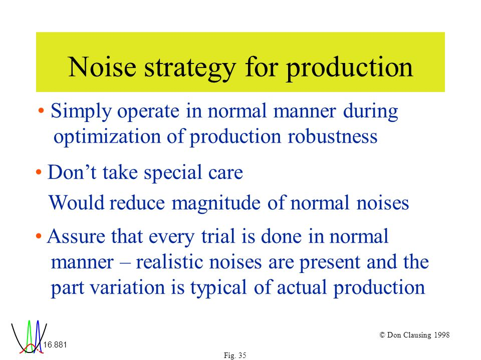 16.881 © Don Clausing 1998 Noise strategy for production Simply operate in normal manner during optimization of production robustness Dont take special care Would reduce magnitude of normal noises Assure that every trial is done in normal manner – realistic noises are present and the part variation is typical of actual production Fig.