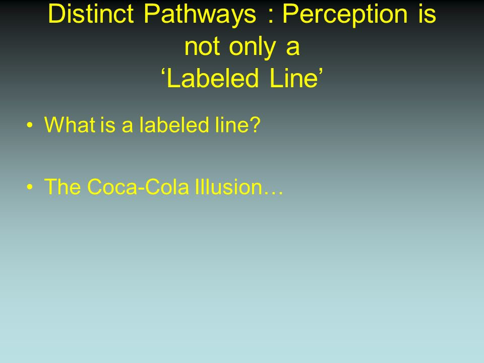 Distinct Pathways : Perception is not only a Labeled Line What is a labeled line? The Coca-Cola Illusion…