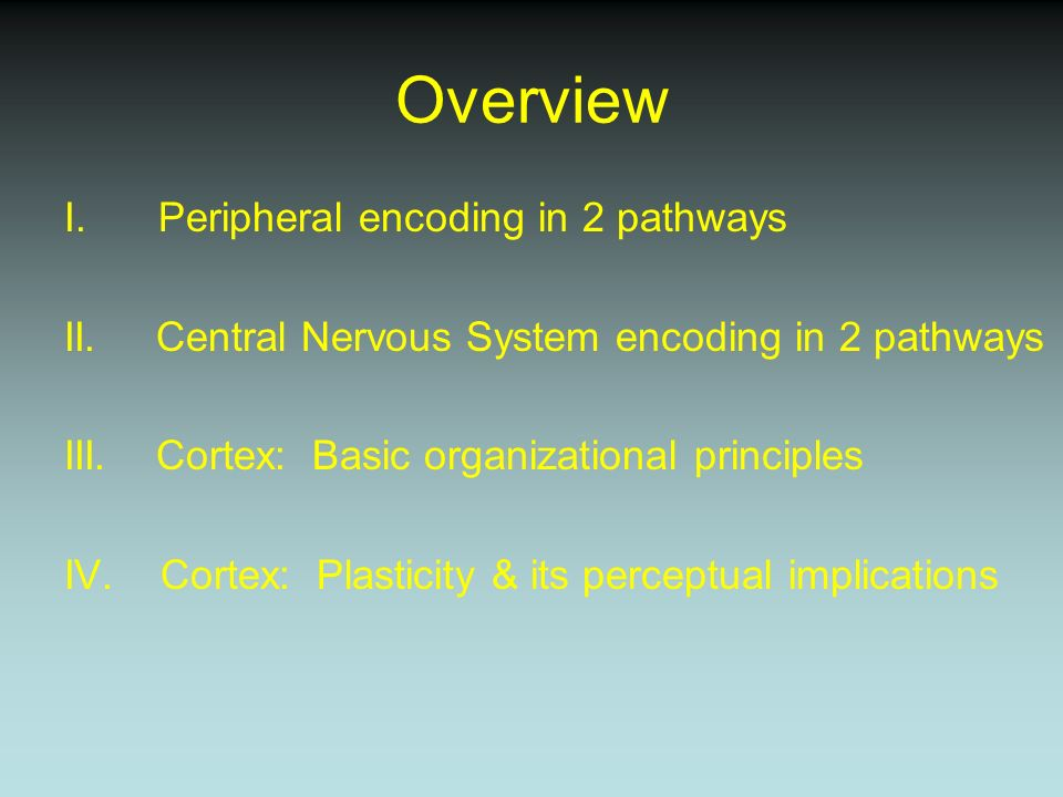 Overview I.Peripheral encoding in 2 pathways II.Central Nervous System encoding in 2 pathways III.